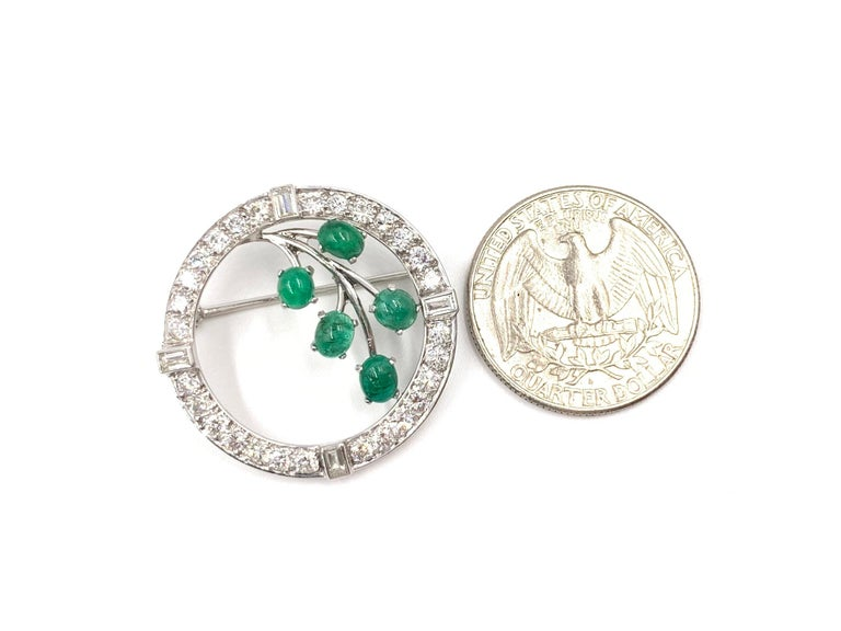Women's or Men's White Gold Diamond and Emerald Garland Style Brooch For Sale