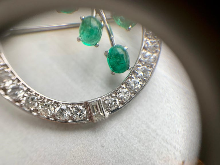 White Gold Diamond and Emerald Garland Style Brooch For Sale 1