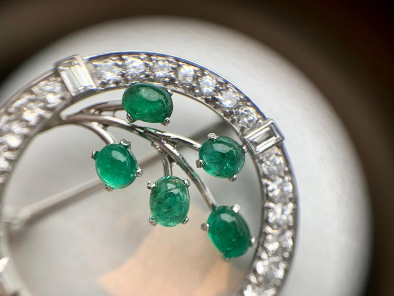 White Gold Diamond and Emerald Garland Style Brooch For Sale 2