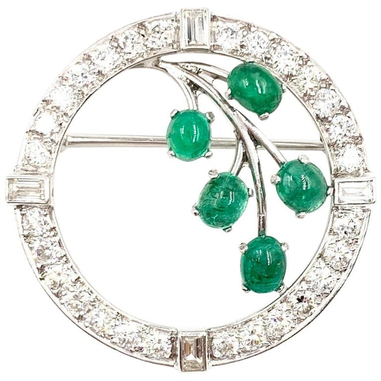 White Gold Diamond and Emerald Garland Style Brooch For Sale