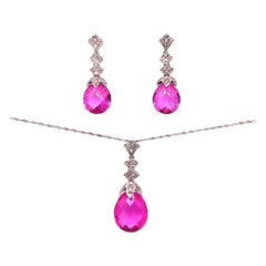 White Gold Diamond and Pink Stone Earrings and Necklace