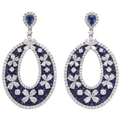 White Gold Diamond and Sapphire Ear Pendant Earrings