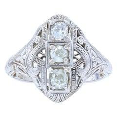 White Gold Diamond Art Deco Floral Three-Stone Ring, 18k Mine Cut .50ctw Vintage