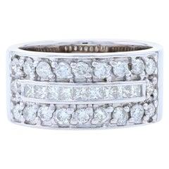 White Gold Diamond Band, 14 Karat Princess Cut 1.20 Carat Ring