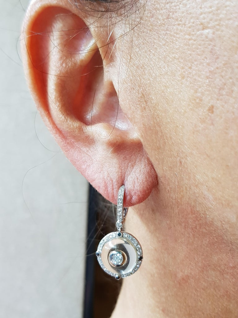 White Gold Diamon, Black Diamond Rock Crystal Earrings  0,23 Ct. Diamond 0,46 Ct. Diamond  00.8 Ct Black Diamond