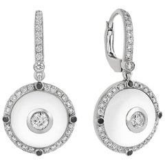 White Gold Diamond, Black Diamond  Rock Crystal Earrings