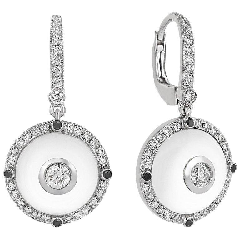 White Gold Diamond, Black Diamond  Rock Crystal Earrings For Sale