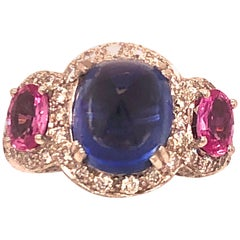 White Gold Diamond Blue and Pink Sapphire Ring