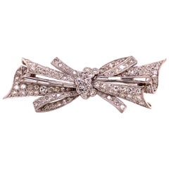 White Gold Diamond Bow Brooch