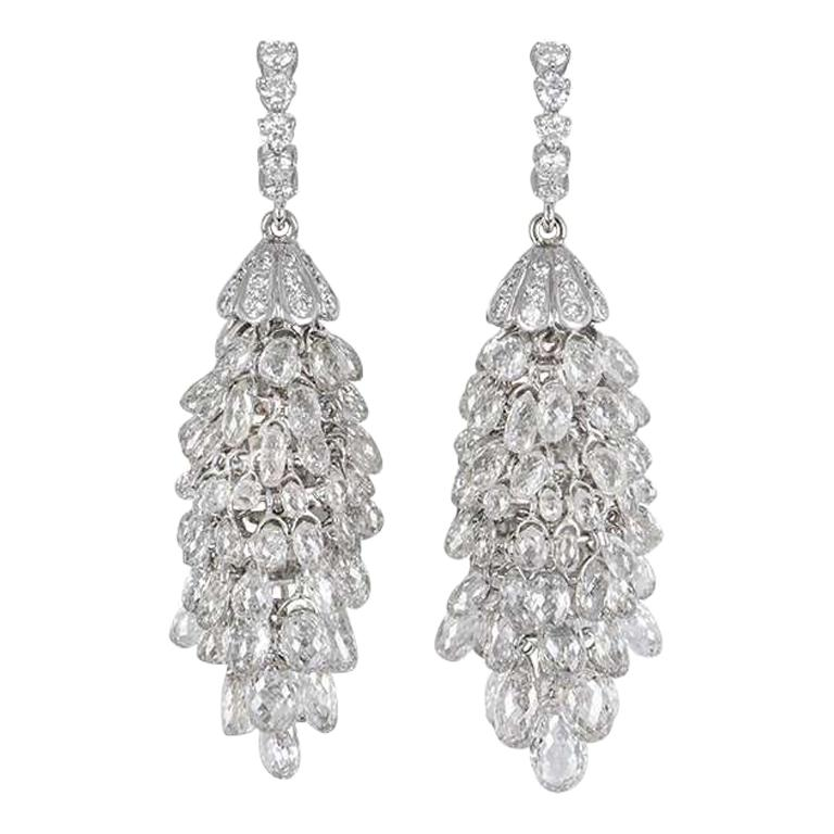 White Gold Diamond Briolette Chandelier Earrings 34.78 Carat