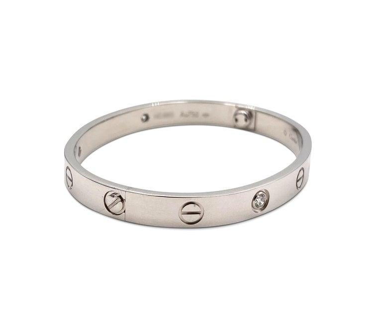 Round Cut White Gold Diamond Cartier Love Bracelet For Sale