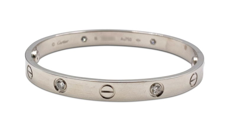 White Gold Diamond Cartier Love Bracelet In Excellent Condition For Sale In New York, NY