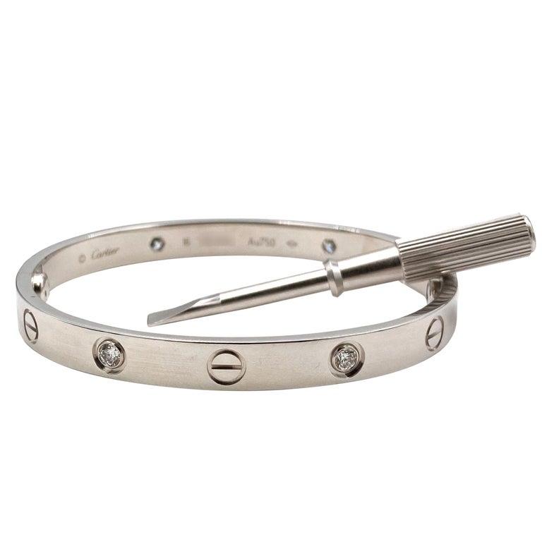 White Gold Diamond Cartier Love Bracelet For Sale