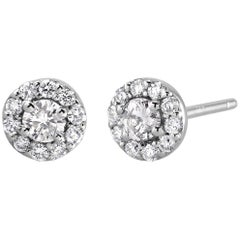 White Gold Diamond Center and Pave Diamonds Halo Style Stud Earrings