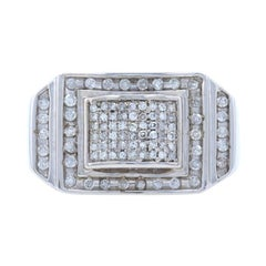 White Gold Diamond Cluster Halo Men's Ring, 10k Single Cut .50ctw