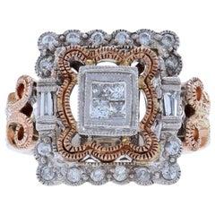 White Gold Diamond Cluster Halo Ring, 14k Princess, Baguette, & Round .50 Carat