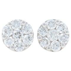 White Gold Diamond Cluster Halo Stud Earrings, 14K Round Cut 1.05 Carat Pierced