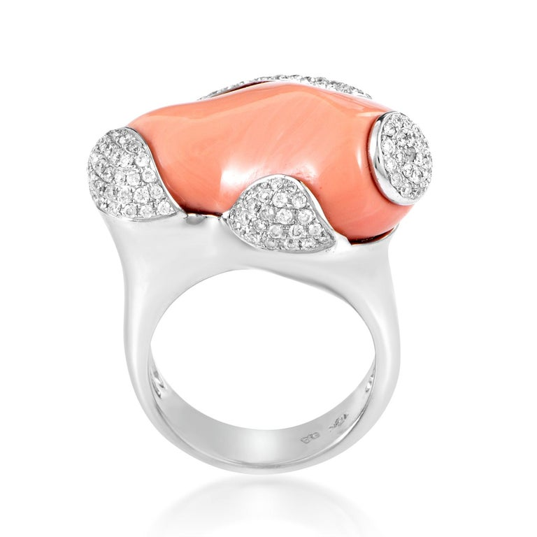 White Gold Diamond and Coral Ring In New Condition In Southampton, PA