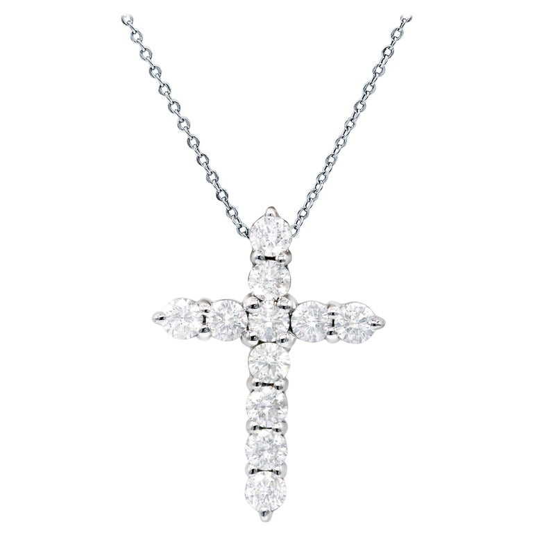 White Gold Diamond Cross Pendant For Sale