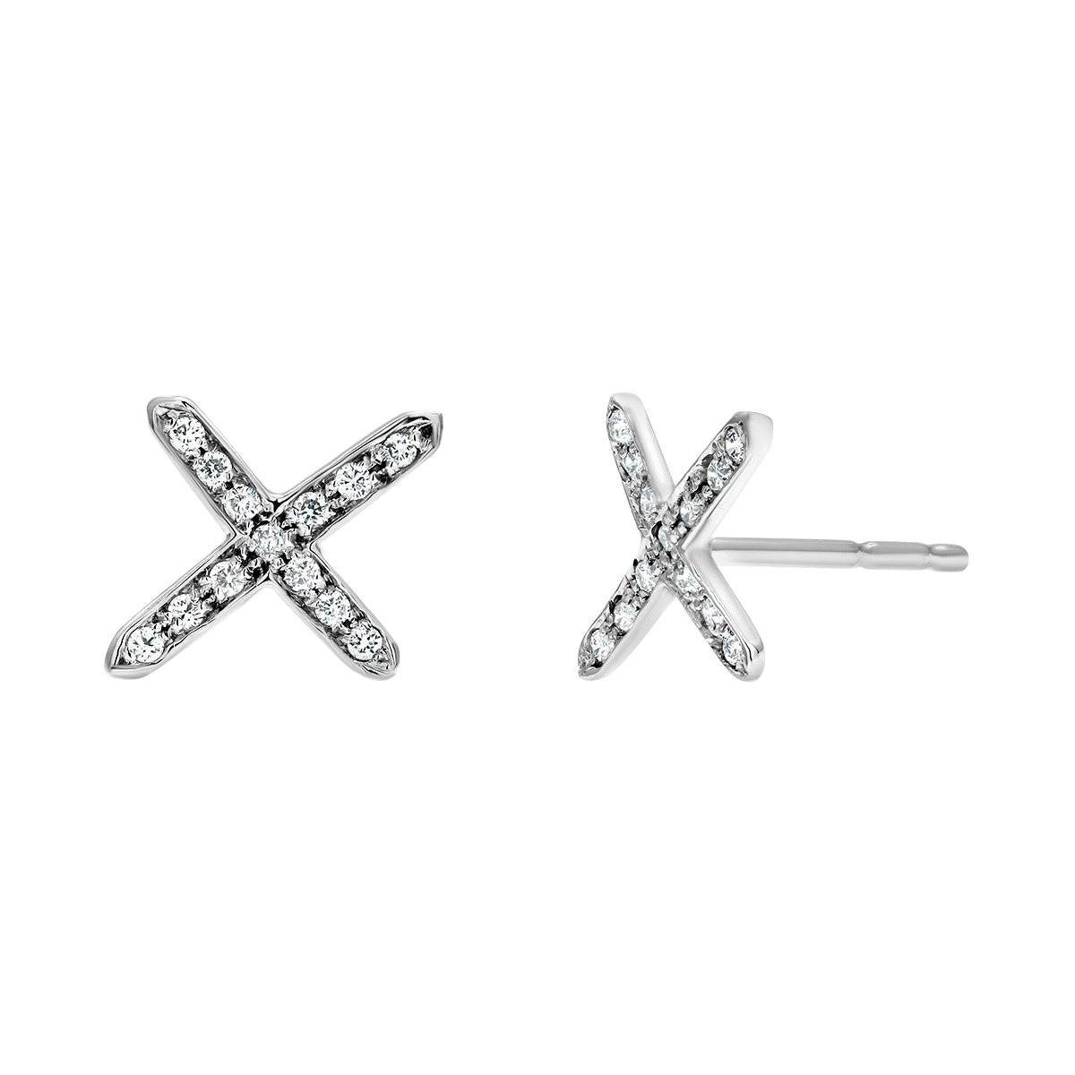 White Gold Diamond Cross Stud Earrings