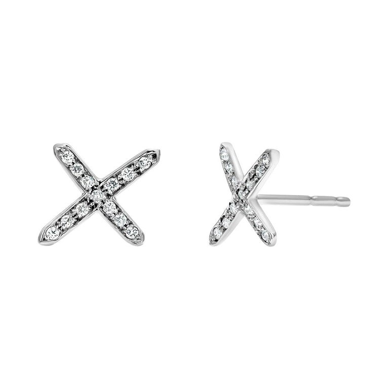 White Gold Diamond Cross Stud Earrings For Sale