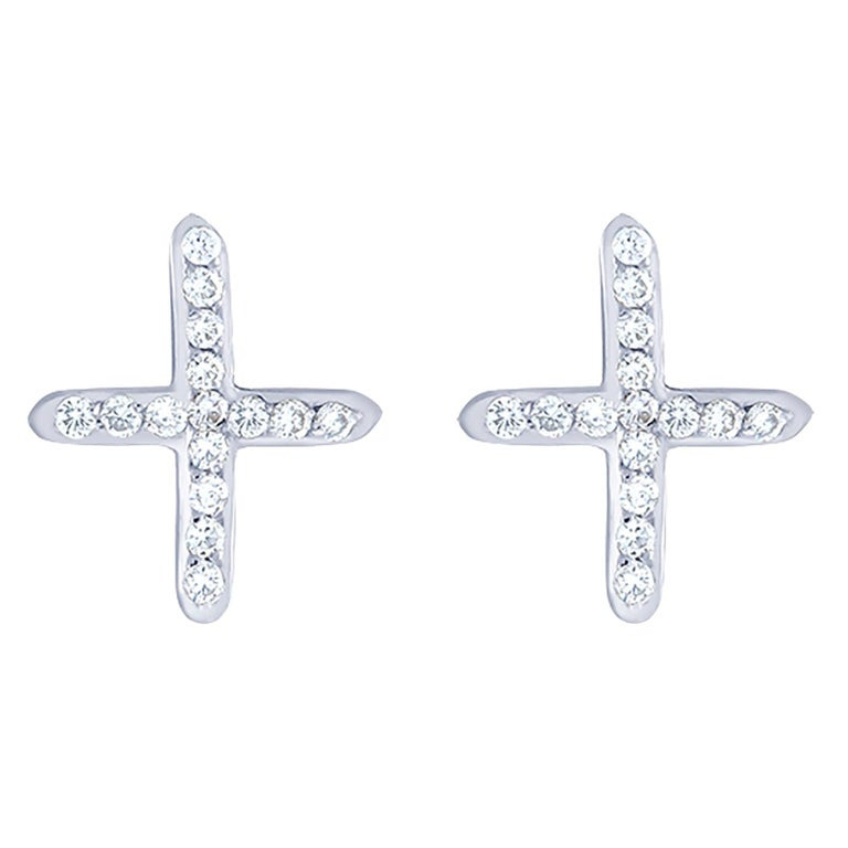 Round Cut White Gold Diamond Cross Stud Earrings For Sale