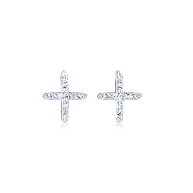 Women's or Men's White Gold Diamond Cross Stud Earrings For Sale
