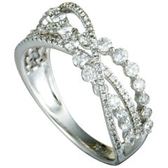 White Gold Diamond Crossover Band Ring