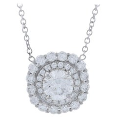 White Gold Diamond Double Halo Necklace, 14k Round Brilliant 1.12ctw Adjustable