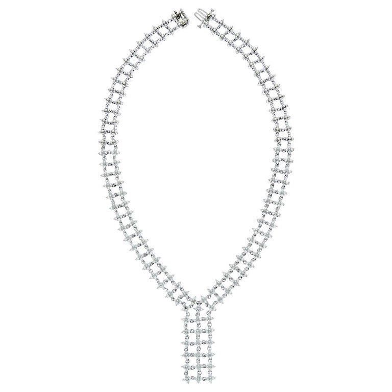 White Gold Diamond Drop Necklace For Sale