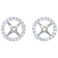 White Gold Diamond Earring Enhancers, 18k Round Cut .42 Carat Halo Stud Jackets
