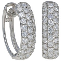 White Gold Diamond Earrings, 18k Round Brilliant Cut 1.25 Carat Pierced Hoops
