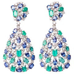 White Gold Diamond, Emerald and Sapphire Drop Earrings