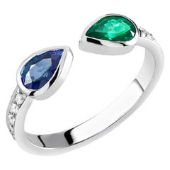 White Gold Diamond Emerald and Sapphire Weighing 1.45 Carat Stacking Ring