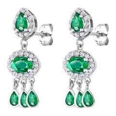 Diamond and Emerald Drop Dangle Eighteen Karat White Gold Earrings