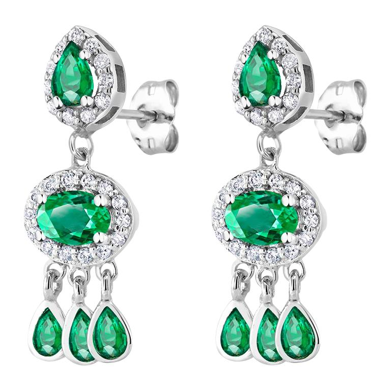 Diamond and Emerald Drop Dangle Eighteen Karat White Gold Earrings  For Sale