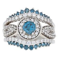 White Gold Diamond Ring and Wedding Bands, 14 Karat Round 1.50 Carat Blue Halo