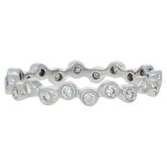 White Gold Diamond Eternity Ring, 18 Karat Round Cut .31 Carat Wedding Band