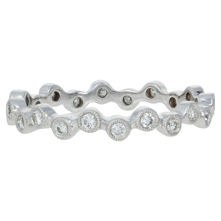 White Gold Diamond Eternity Ring, 18 Karat Round Cut .31 Carat Wedding Band For Sale