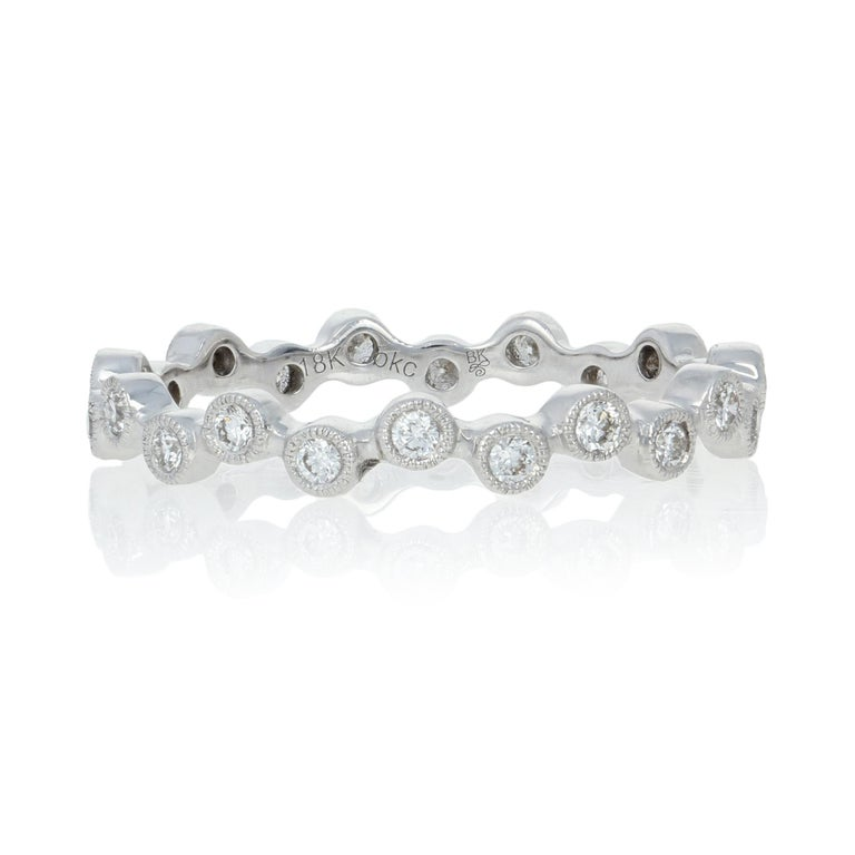 Size: 6 1/2  Brand: Beverly K.  Metal Content: Guaranteed 18k Gold as stamped  Stone Information:  Natural Diamonds   Clarity: VS1 - VS2  Color: G - H    Cut: Round Brilliant Total Carats: 0.31ctw  Style: Eternity Band Face Height (north to south):