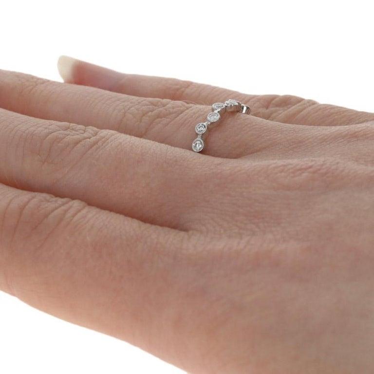 Women's White Gold Diamond Eternity Ring, 18 Karat Round Cut .31 Carat Wedding Band For Sale