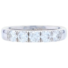 White Gold Diamond Five-Stone Anniversary Band 14 Karat 1.00 Carat Wedding Ring