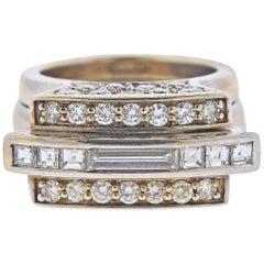 White Gold Diamond Geometric Cocktail Ring