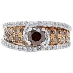 White Gold Diamond Halo Bypass Ring, 14 Karat Round Cut 2.48 Carat Fancy Brown