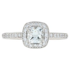 White Gold Diamond Halo Engagement Ring, 14 Karat Cushion Cut .86 Carat