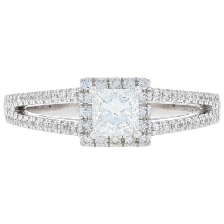 White Gold Diamond Halo Engagement Ring, 14 Karat Princess Cut .70 Carat GIA