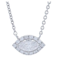 White Gold Diamond Halo Necklace, 14 Karat Marquise Cut .41 Carat