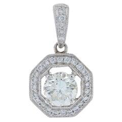 White Gold Diamond Halo Pendant, 14k Round Brilliant .92ctw Milgrain Octagon GIA