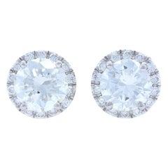 White Gold Diamond Halo Stud Earrings, 14k Round Brilliant Cut .94 Carat Pierced