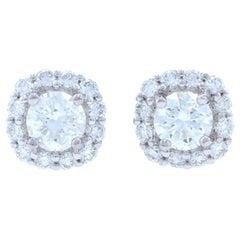 White Gold Diamond Halo Stud Earrings, 14k Round Brilliant Cut .95 Carat Pierced